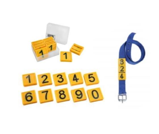 Numero per collare in plastica giallo %2810pz%29