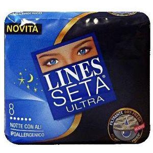 Lines Seta Ultra Notte Assorbenti con Ali 8 pezzi