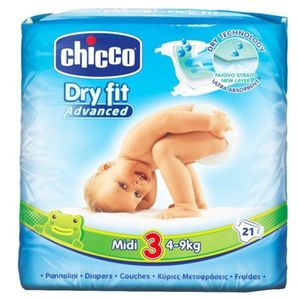 Chicco Pannolini Dry Fit Advanced 4-9 kg Taglia Midi3 21 pz