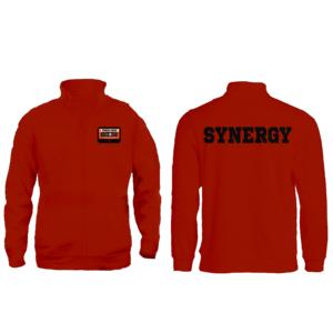 Felpa Zip Senza Cappuccio Uomo Logo Synergu Music Arancio