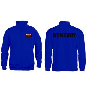 Felpa Zip Senza Cappuccio Uomo Logo Synergu Music Blue