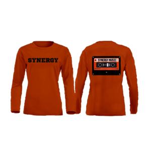 Maglia Manica Lunga Donna Logo Synergy Music Arancio