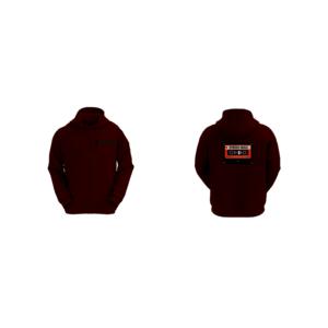 Felpa Basic con Cappuccio Uomo Logo Synergy Music Rosso Scuro