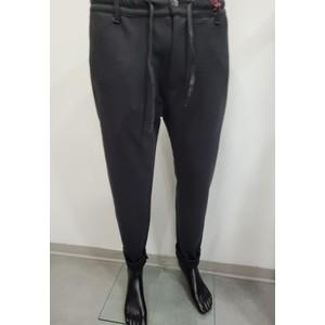 Pantalone tasca america tinta unita nero con elastico