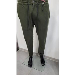 Pantalone tasca america con elastico tinta unita verde