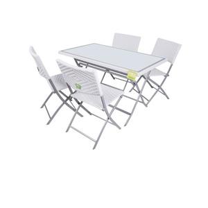 Set Tavolo con 4 Sedie Pieghevoli Bianco in Acciaio - Enrico Coveri