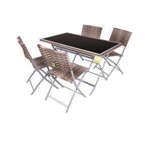 Set Tavolo con 4 Sedie Pieghevoli Legno in Acciaio - Enrico Coveri