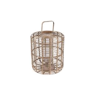 Lanterna Legno Naturale Cilindro ⌀35xH44cm - Jardinia
