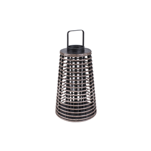 Lanterna Legno Naturale Tronchetto Nero ⌀32xH61 - Jardinia