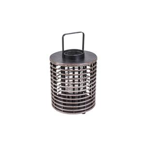 Lanterna Legno Naturale Tonda Nero ⌀30xH50 - Jardinia