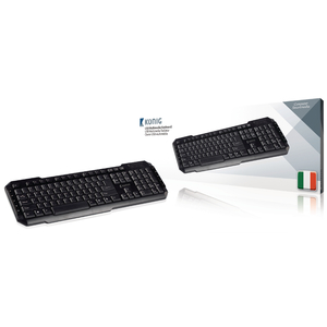 Tastiera per pc USB Multimedia USB Italiano Nero - KONIG