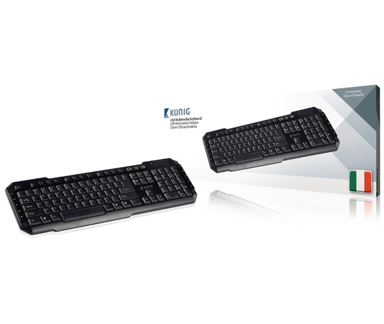 Tastiera per pc USB Multimedia USB Italiano Nero - KONIG