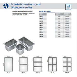 BACINELLE INOX GN 1 /1 - cm 15h