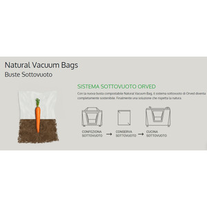 """NEW"" Buste cm 15x30 per sottovuoto BIOCOMPOSTABILI ""NATURAL VACUUM BAGS"" - 1 cartone da 1000 pz"