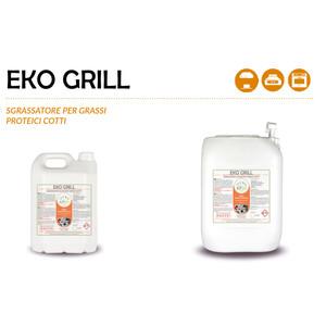 """""""EKO GRILL"""" SGRASSATORE ECOLOGICO LIQUIDO PROFESSIONALE PER GRASSI PROTEICI COTTI - 1 CARTONE da 2 taniche da 5 kg"""