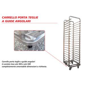 carrello porta teglie a guide angolari - INOX AISI 304 - per teglie cm 50x70 - 60x70 - 18 POSTI