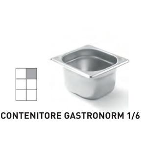 CONTENITORI GASTRONORM PLUS LINE ACCIAIO INOX GN 1/6 (mm176x162) - h 100mm