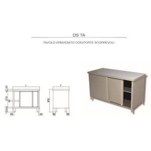TAVOLO INOX AISI 304 - ARMADIATO cm 60x60x85h - porte battenti