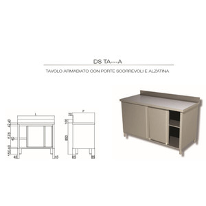 TAVOLO INOX AISI 304 - ARMADIATO CON ALZATINA cm 110x60x85h - porte SCORREVOLI