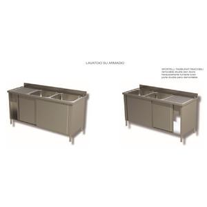 LAVELLO 2 VASCHE E SCIVOLO DX/SX ARMADIATO CON PORTE SCORREVOLI - INOX AISI 304 cm 150X60X85h