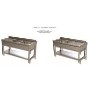LAVELLO 2 VASCHE E SCIVOLO DX/SX SU GAMBE E RIPIANO SOTTOSTANTE - INOX AISI 304 cm 150X70X85h