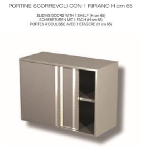 PENSILE INOX AISI 304 con porte scorrevoli - 1 RIPIANO  - cm 130x40x65h