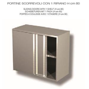 PENSILE INOX AISI 304 con porte scorrevoli - 1 RIPIANO  - cm 150x40x80h