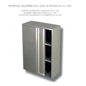 PENSILE INOX AISI 304 con porte scorrevoli - 2 RIPIANI  - cm 120x40x100h