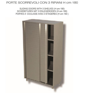 ARMADIO NEUTRO, INOX AISI 304 - PORTE SCORREVOLI E 3 RIPIANI cm 140x50x180h