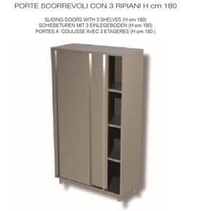 ARMADIO NEUTRO, INOX AISI 304 - PORTE SCORREVOLI E 3 RIPIANI cm 140x60x180h