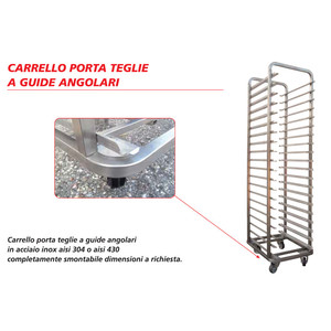 Carrello porta teglie a guide angolari - INOX AISI 430 - 50x70/60x70 - 15/16/18/20 POSTI