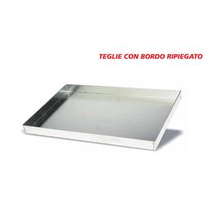 Teglia PIANA IN ALLUMINIO PIENO con bordo di piega – cm 40X80 - BORDO 2/3/4h