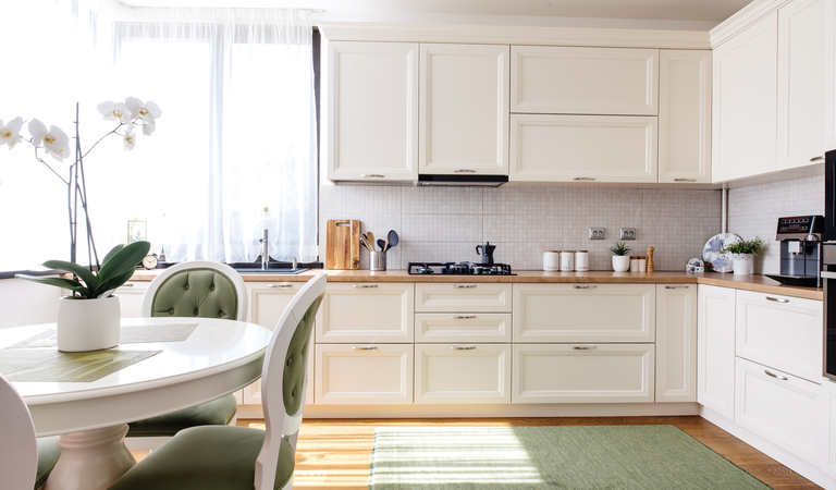Modern and bright kitchen interior with appliances p5t2mzk