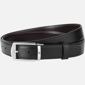 Cintura Montblanc con fibbia ad ardiglione rettangolare arrotondata con finitura palladio lucida e opaca MB126020
