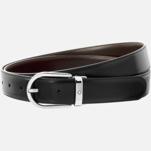 Cintura Montblanc con fibbia ad ardiglione a ferro di cavallo finitura palladio lucido MB128135