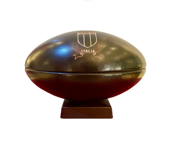 Salvadanaio in pelle palla da rugby made in italy