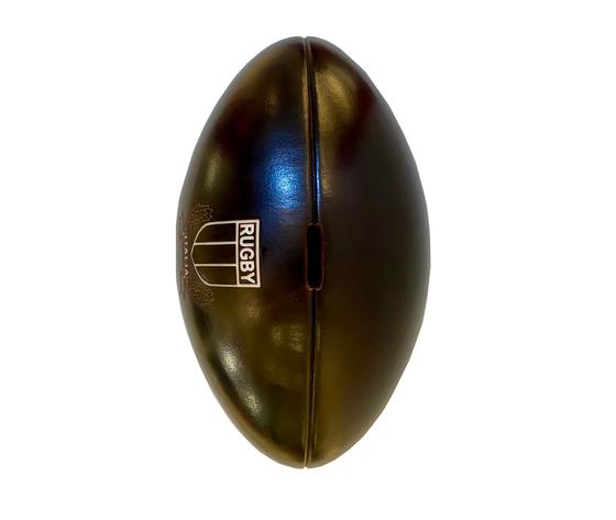 Salvadanaio in pelle palla da rugby made in italy da sopra