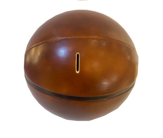 Salvadanaio in pelle palla da basket made in italy fessura
