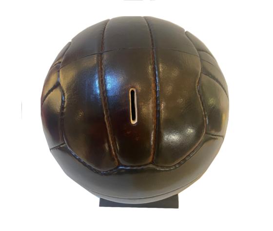 Salvadanaio in pelle palla da calcio made in italy fessura