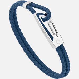 bracciale montblanc in pelle blu intrecciata con chiusura a moschettone in acciaio e inserto in lacca blu MB11855460