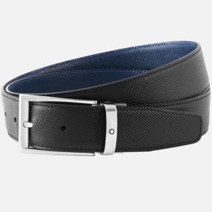 Cintura Montblanc elegante nera/indaco reversibile su misura MB118438