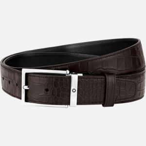 Cintura Montblanc con fibbia ad ardiglione quadrata finitura palladio lucida stampa alligatore MB126739