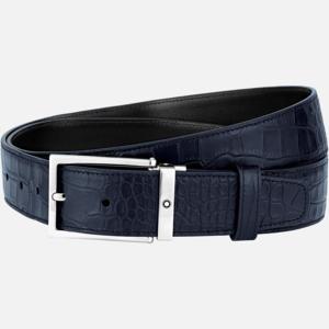 Cintura Montblanc con fibbia ad ardiglione quadrata finitura palladio lucido stampa alligatore MB126738