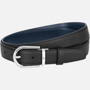 Cintura Montblanc con fibbia ad ardiglione a ferro di cavallo finitura palladio lucido nero blu MB128756