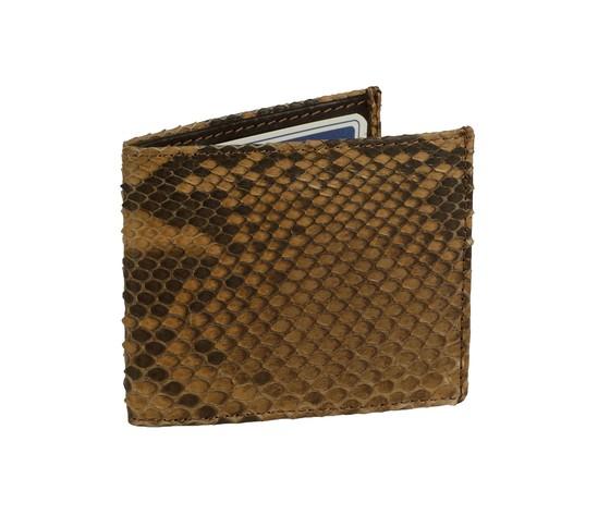 Porta carte di credito in pelle di pitone marrone