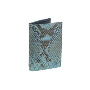 Portafoglio uomo verticale in pelle di pitone azzurro