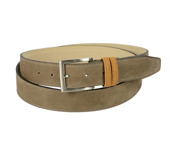 Cintura bicolore in pelle nabuk: marrone con passante cuoio