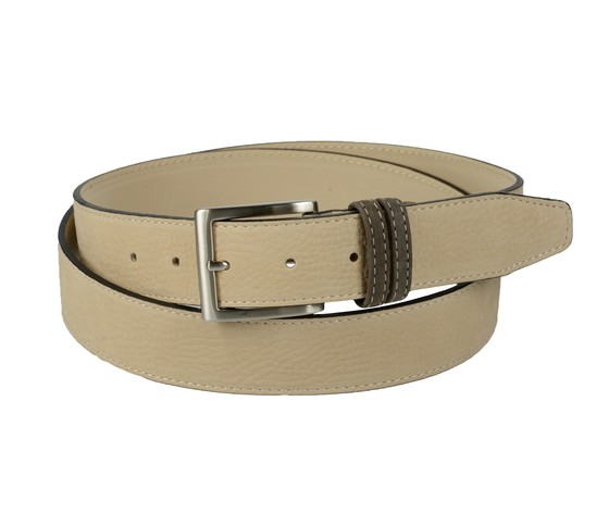 Cintura bicolore in pelle nabuk: beige con passante marrone