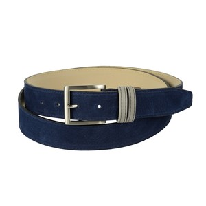 Cintura bicolore in pelle di vitello nabuk: blu con passante grigio