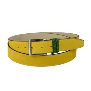 Cintura bicolore in pelle nabuk: gialla con passante verde